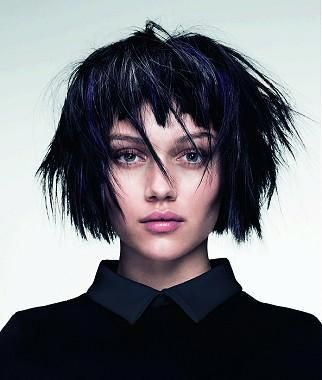 A Short Black straight messy choppy defined-fringe coloured multi-tonal bob womens haircut hairstyle by Angelo Seminara #choppybobhairstyles