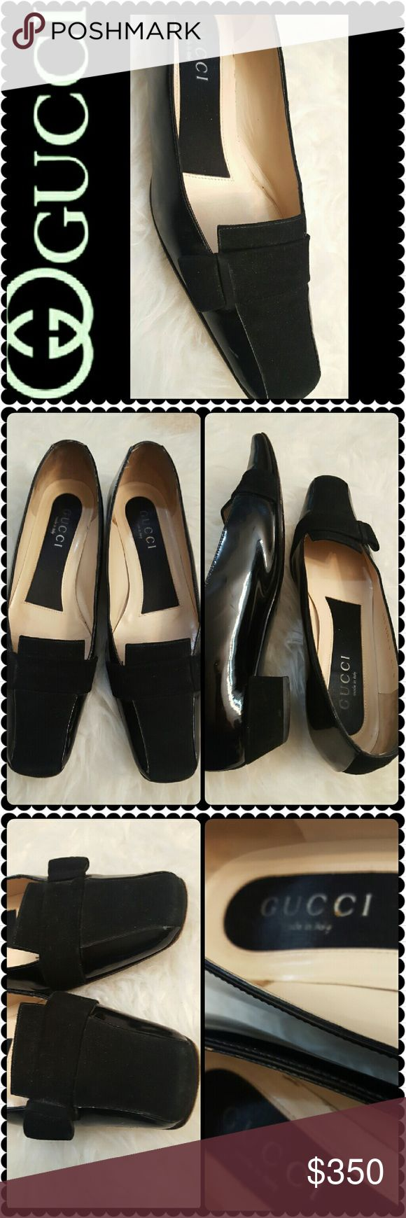 Gucci Leather Suede Pumps Gucci Designer Shoes, Black Patent Suede Leather Pumps with an Inch Stacked Heel, Gorgeous with Suede Accent at the Toe and a Suede Stripe Down the Heel!  Made in Italy in Size 6.5B, Used in Excellent Condition! A Gucci Classic Pair! Gucci Shoes