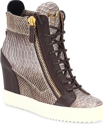 Giuseppe Zanotti Shoes - Snake embossed leather defines statement wedge sneakers. Self covered wedge heel, 3' (75mm). - #giuseppezanottishoes #multishoes