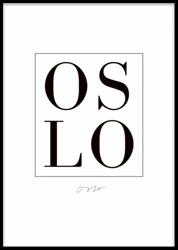 OSLO plakat. Poster med teksten OSLO i svart på hvit bakgrunn. Stilren og mektig i all sin enkelhet. Sort og hvid plakater og posters. www.desenio.no