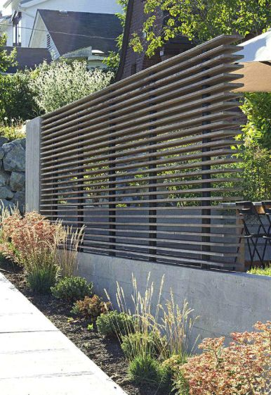Slatted fencing of composite or cedar or pressure treated ...
