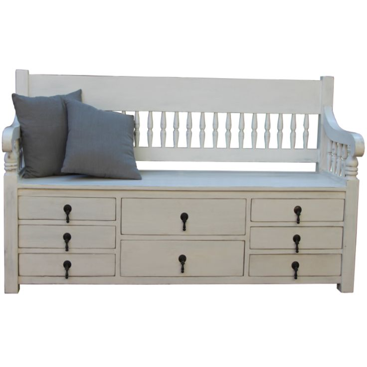 wooden storage bench with 8 drawers