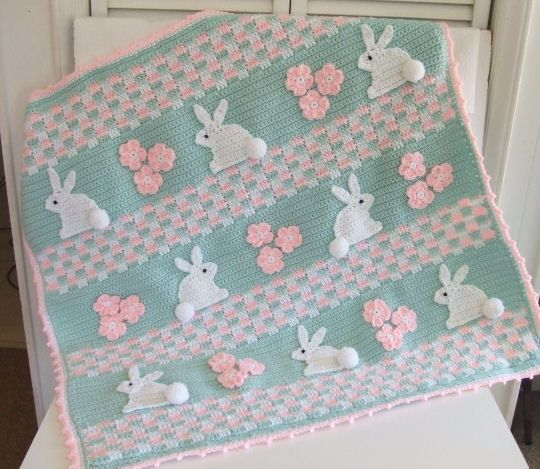 CV121 Hopping Down The Bunny Trail Baby Blanket - First Class Mail : Crochet Village
