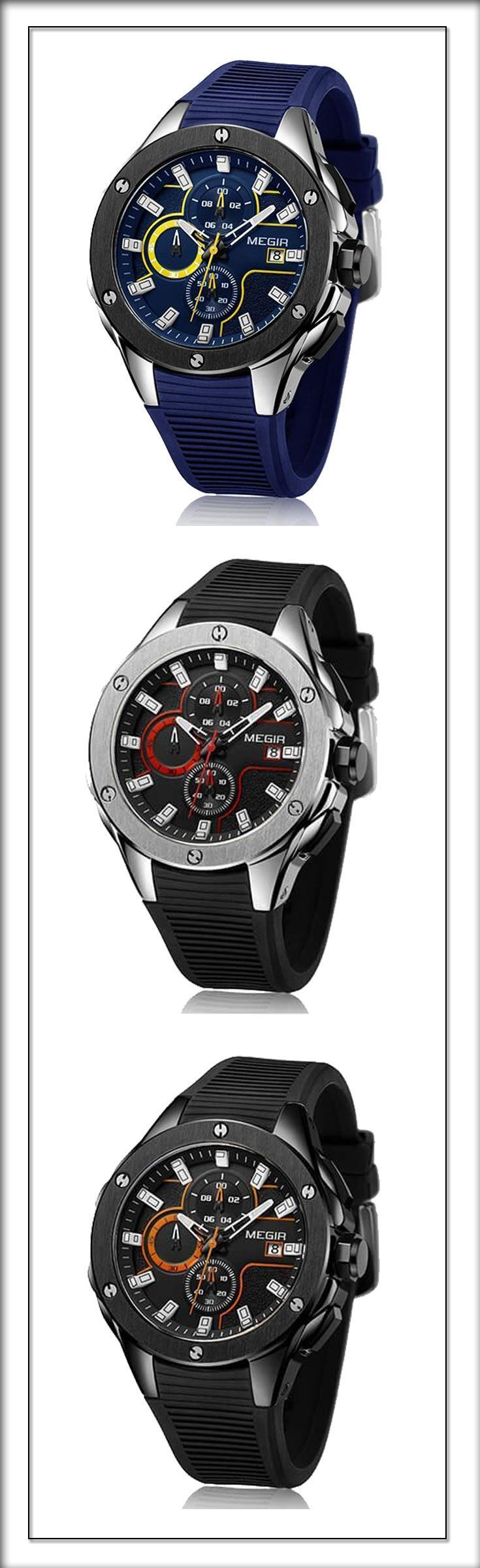 Men's Sport Luxury watches at it's finest - Take a look at the new generation of watches ------ 2018 megir silicone casual sport watch for men #sportwatches #menswatch #MensFashionWatches #Fashionwatchformen