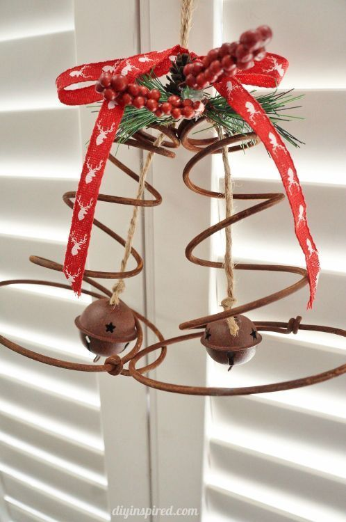 Repurposed Bed Spring Christmas Bells - Pretty and Rustic Christmas Decor