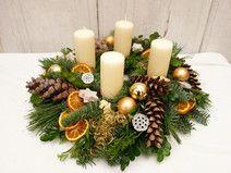 Adventskranz creme gold Weihnachtsdeko Landhaus