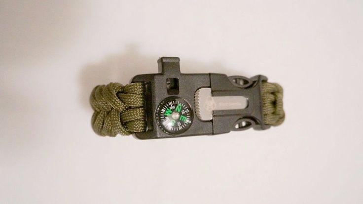 4in1 Survival Paracord Camp Bracelet Outdoor Compass Flint Fire Starter Whistle #SilentGuerrilla