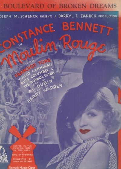 Classic Montgomery - Moulin Rouge (1934)Well, according to a Nov 1933 issue of Picture Show Mag,Bob was scheduled to co-star withBennett in Moulin Rouge.  A few days before filming was to begin, Bob was called to co-star with Gable inTwo Thieves.  Wonder what happened to that one ... I can see Bob and Clark as a couple of thieves.... Meanwhile, Bob ends up filming Fugitive Lovers and Clark goes on to It Happened One Night.  I'd have to say Clark ended up with the best deal that time.