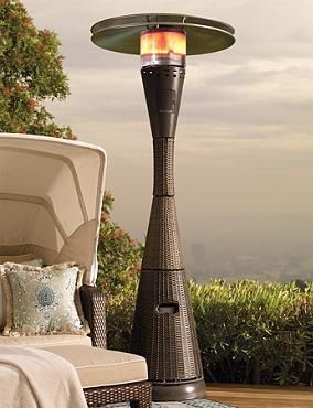Our towering All-weather Woven Heater blends in seamlessly with your outdoor wicker decor.