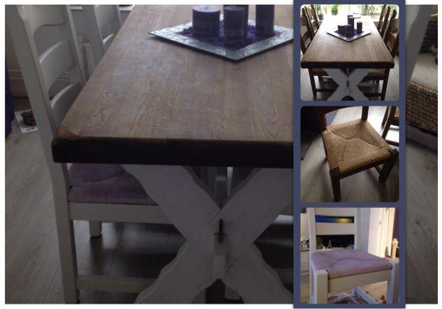 Bij deze de foto's van mijn eerste projectjes. De ouderwetse eiken eetkamerstoelen zijn nu lekker fris en modern! (Gedaan met Old white en Clear wax, zittingen met Emile en Old white) Groetjes Rhona