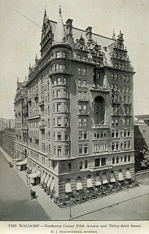 Waldorf–Astoria (New York, 1893) - The Waldorf–Astoria originated as two hotels, built side-by-side by feuding relatives on Fifth Avenue in Manhattan. Built in 1893 and expanded in 1897, the Waldorf–Astoria was razed in 1929 to make way for construction of the Empire State Building. Its successor, the current Waldorf Astoria New York, was built on Park Avenue in 1931.