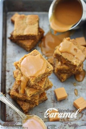 Salty and sweet, soft and chewy these easy to make salted caramel blondies from Roxanashomebaking.com are oozing with sticky caramel goodness. The perfect treat for any caramel lover!