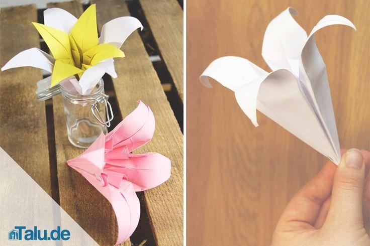 Eine Origami Lilie falten scheint auf den ersten Blick ...