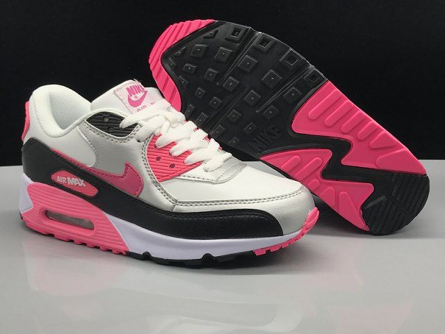 Womens Nike Air Max 90 Leather White Silver Black Pink Sneakers ...