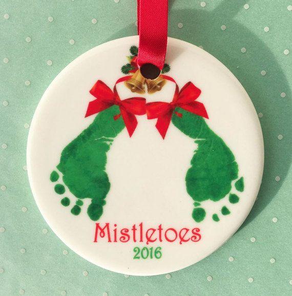 Mistletoes Footprints Ornament by SpecialtyCreations4U on Etsy