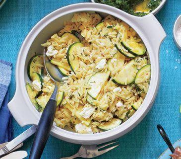 12 Delicious Zucchini Recipes. Orzo Salad with Zucchini and Feta above ...