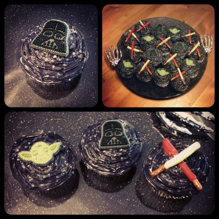 Star Wars Cupcakes. Chocolate pretzel lightsabers.