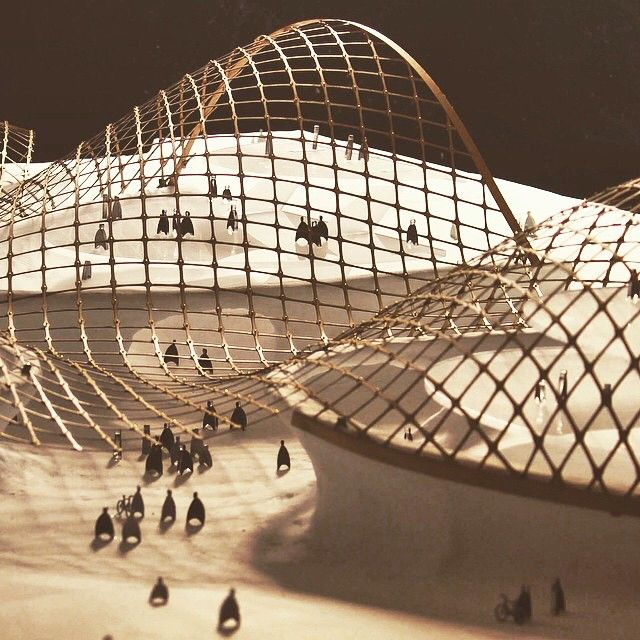 By @conorcoghlan Google Campus Model. Laser Cut, Birch Ply, Gridshell Roof  Structure