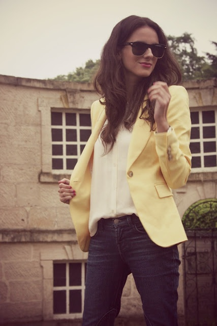 Perfect Travel outfit: Light Pink Blazers, The Ponds, Casual Friday, Color Blazers, White Blouses, Travel Outfit, Yellow Jackets, White Jeans, Yellow Blazers