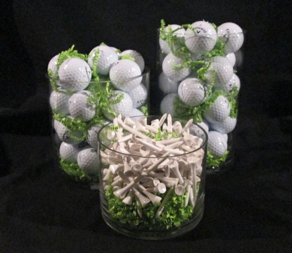Vases Golf Centerpiece, Shamrock Golf Tournament