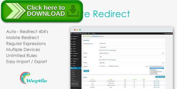 [ThemeForest]Free nulled download WordPress Ultimate Redirect Plugin from http://zippyfile.download/f.php?id=58671 Tags: ecommerce, Auto redirect, broken links, four oh four, missing page, mobile redirect, page not found, page redirect, redirect, redirection, SEO Redirect, smart 404, smart four oh four, wordpress