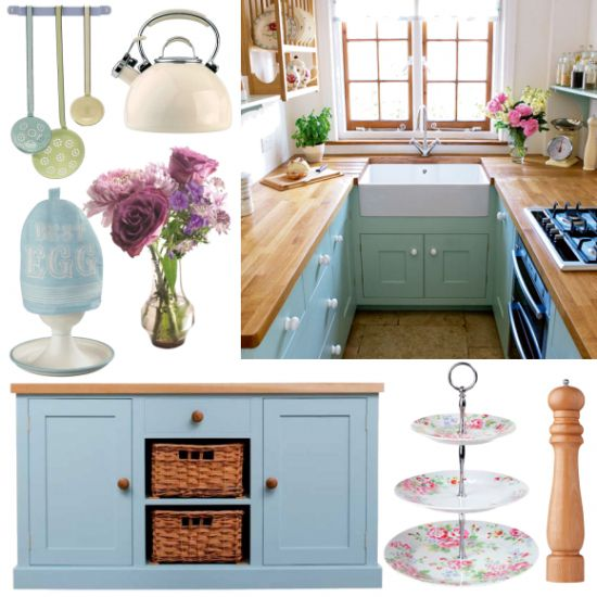 Duck Egg blue country kitchen - Duck egg blue is the prettiest colour for a country kitchen, Accessorise with ice-cream pastels and cheerful florals to complete the look.