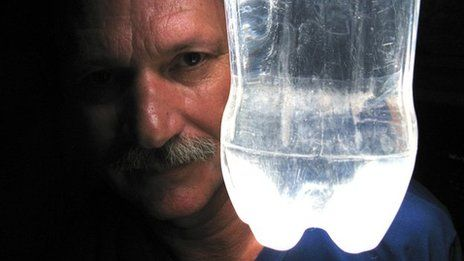 Make a light out of a bottle and water.  Brilliant way to combat darkness and poverty.