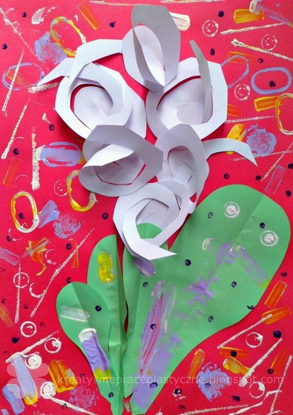 Art project for kids - paper cut hyacinth 3D.