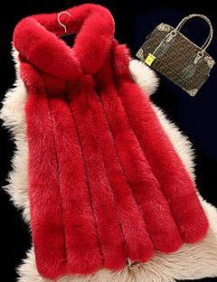 Kadın Orta Suni Kürk Kolsuz Yuvarlak Yaka,Kırmızı / Beyaz / Siyah / Gri Solid Sevimli Dışarı Çıkma / Günlük/Sade-Kadın Ceketler
