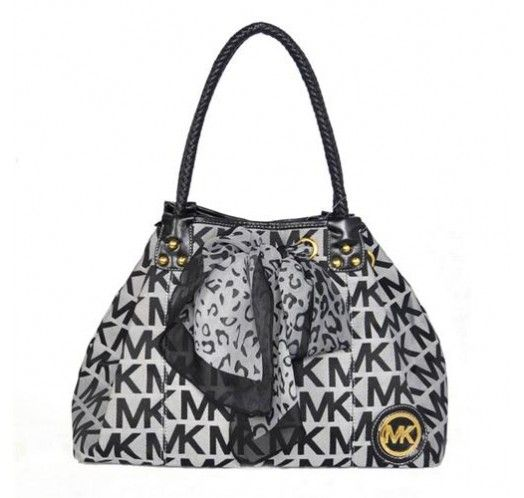Michael Kors Scarf Jacquard Large Grey Shoulder Bags [mk_0162]
