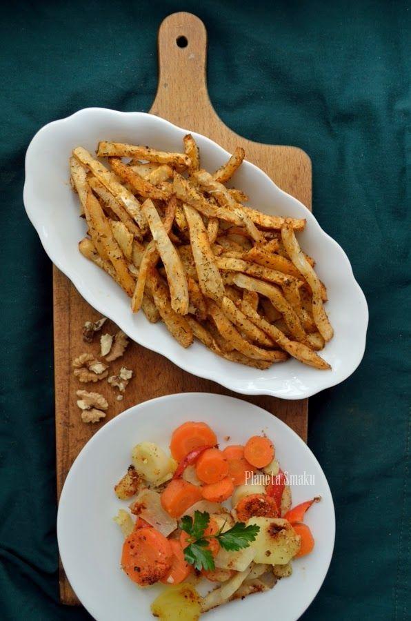 Pieczone frytki z selera