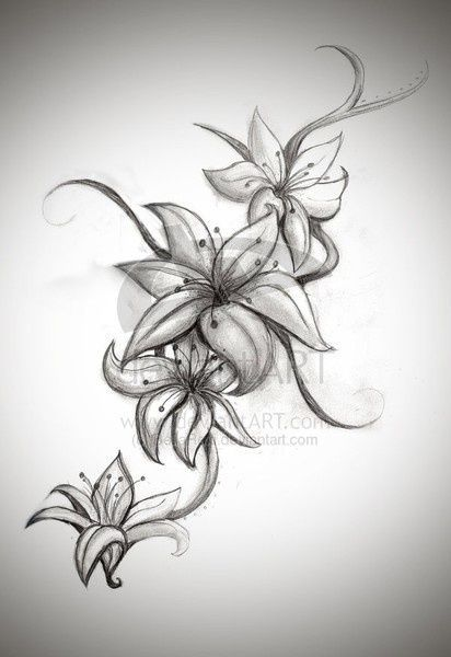 tribal and flower thigh tattoos | nice lilies design for a tattoo