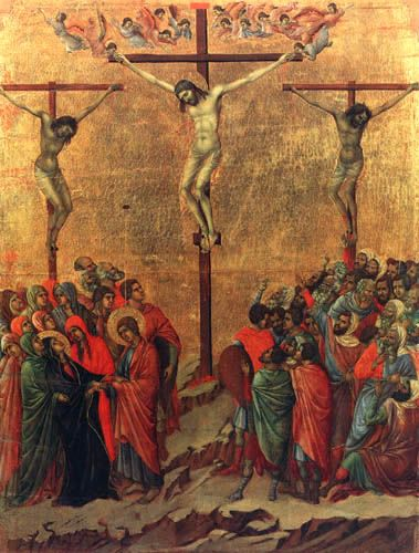 Duccio (di Buoninsegna) - Maesta, Kreuzigung