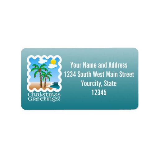 Palm Tree Holiday Lights Beach Christmas Custom Address Label, Personalized for Florida or Tropical Holiday