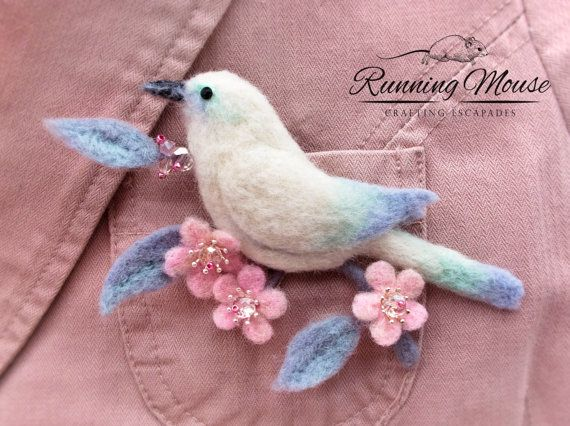 Ready to ship Needle felted Bird Brooch. White by RunningMouse