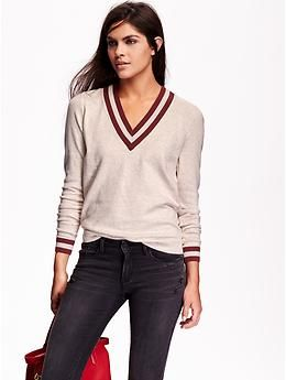 Women's Varsity V-Neck Sweaters | Old Navy: