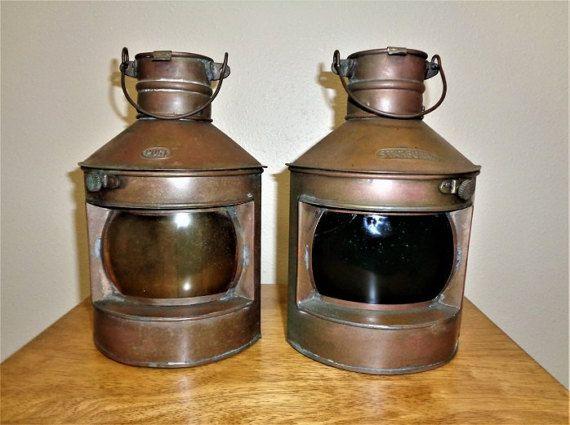 Vintage Copper Port & Starboard Lanterns
