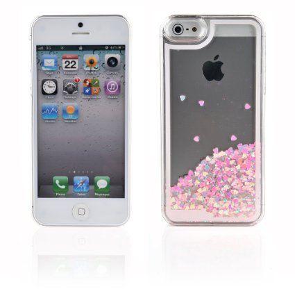 iProtect Schutzhülle Apple iPhone 5 5s Hülle Herzchen und Glitzer-Regen rosa mit…