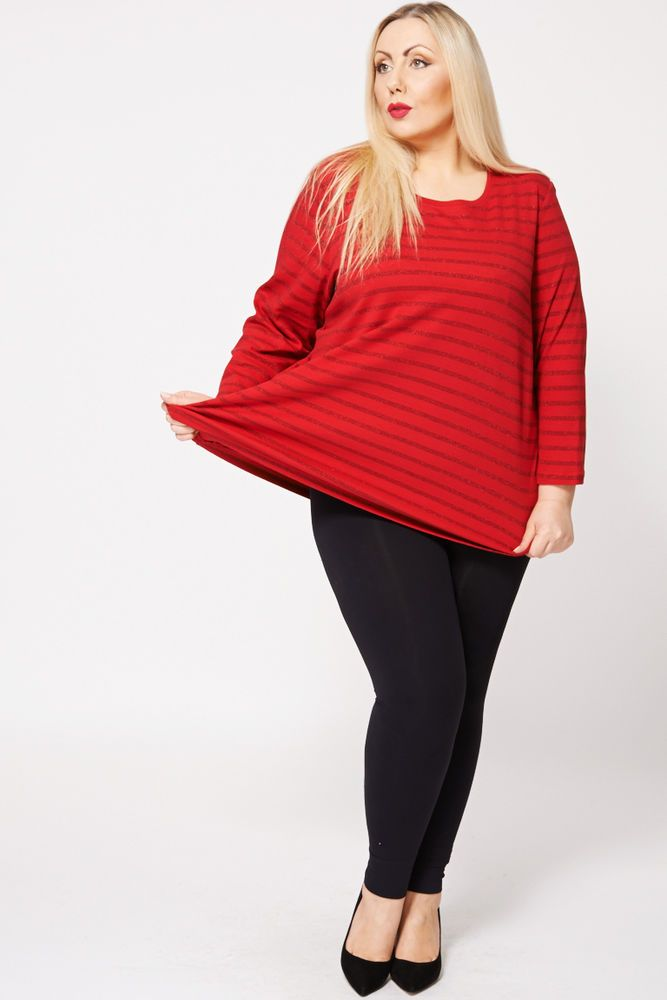 Womens Lovely Sparkly RED STRIPE JUMPER TOP IN RED Available UK Size 16,18,20