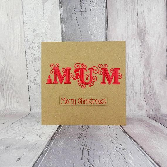This fancy font Christmas card for Mum is handmade and you can choose the colour of the foiled card that spells out the name: Mum. The special font has swirls, stars, a candle and a stocking entwined in the lettering spelling out: Mum. The sentiment on this handmade Christmas card is in the matching colour ink to the large letters and then added to the card with 3D foam and reads: Merry Christmas! Or you can choose any of the messages from the drop-down menu, or create your own and add it to…