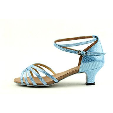 Customizable+Women's/Kids'+Dance+Shoes+for+Latin/Salsa+with+Chunky+Heel+in+Blue+–+AUD+$+20.01