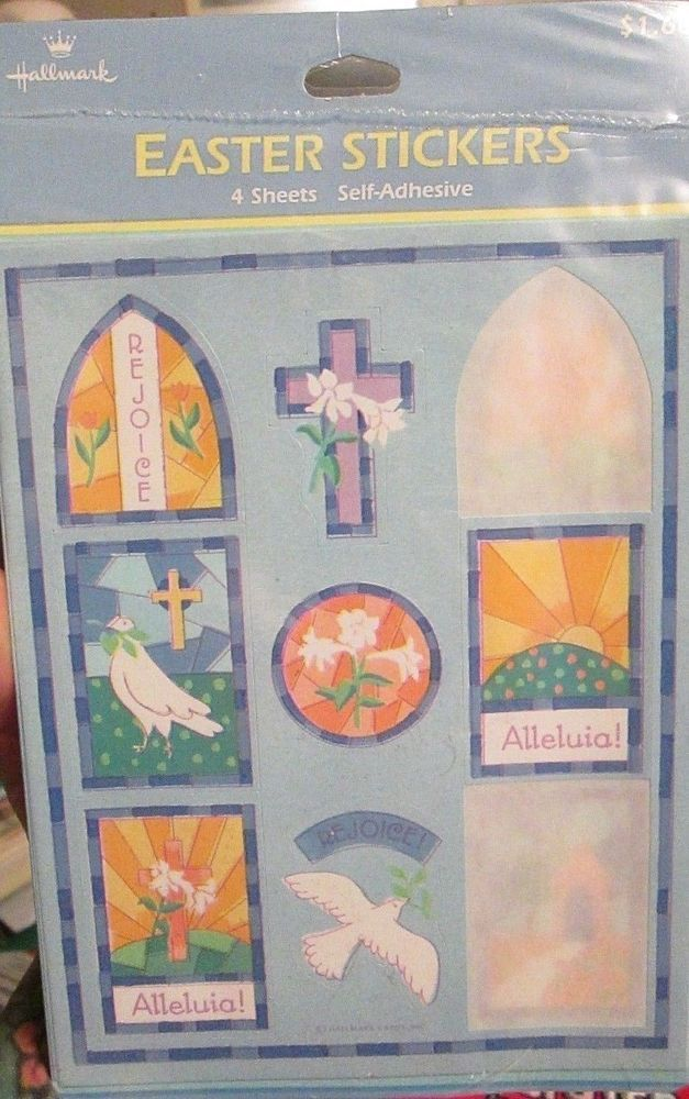Sealed Hallmark Easter Stickers 4 sheets Religious Cross Dove Lily Flowers pray #Hallmark