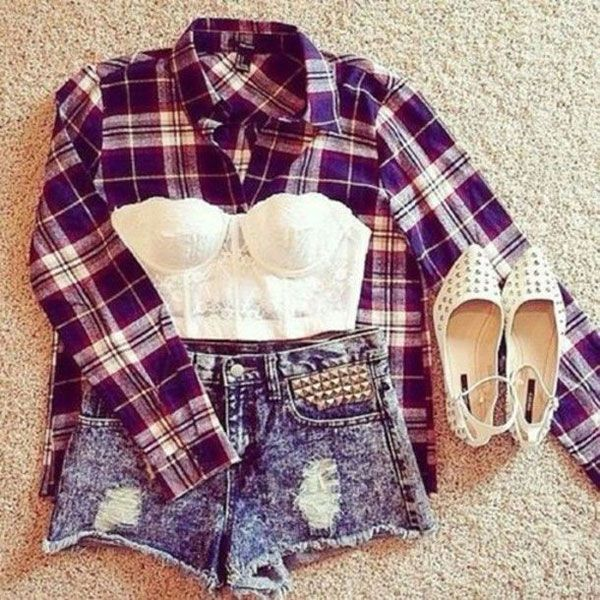 Pair a bralette with high-waist shorts and and unbuttoned plaid shirt (depending on how much skin you're comfortable showing).
