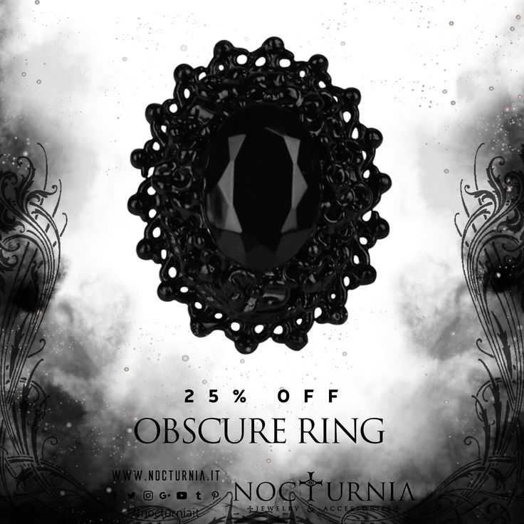 "Find our ""OBSCURE RING"" 25% OFF on our shop! Click here http://bit.ly/obscureringnocturnia #nocturniait #blacksummersale"
