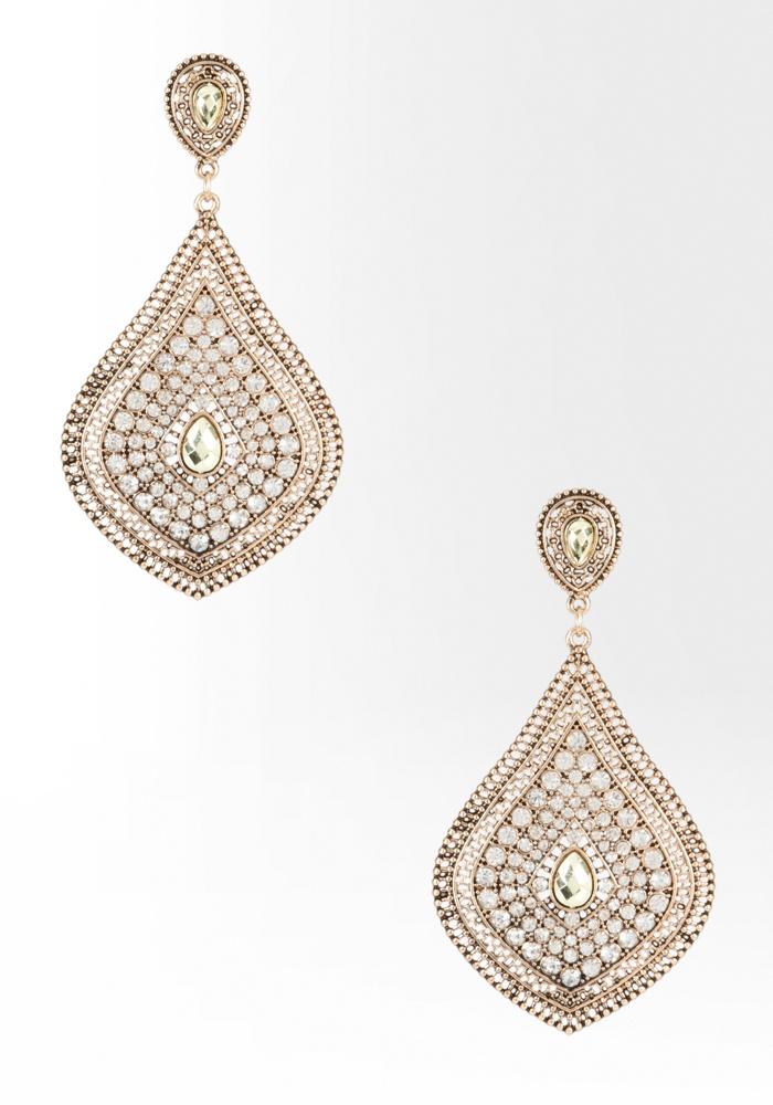 Bebe Faceted Stone & Crystal Teardrop Earring - Crystal In Gold