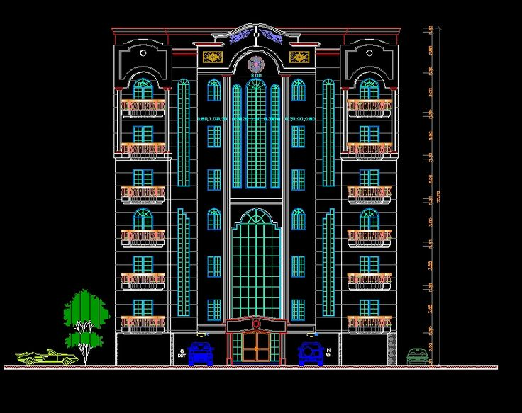 Building Front Elevation Autocad : Best download building facade cad drawings images on