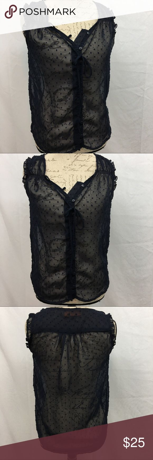 "Urban Behavior Rebel Sheer Top Urban Behavior Rebel Sheer top. Excellent condition with no flaws. Dark blue with polka dots. Size S/P. Armpit to armpit 19"". Shoulder to bottom hem 25"". Urban Behavior Tops"