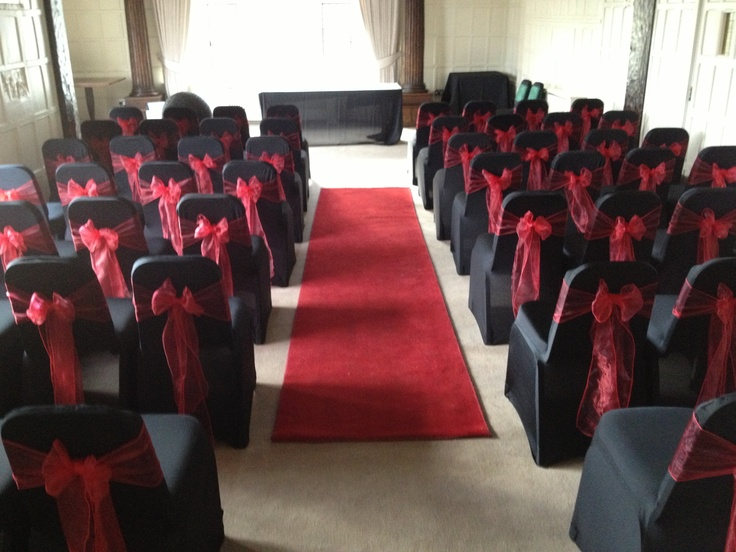 Black & Red Wedding Ceremony Chair Covers