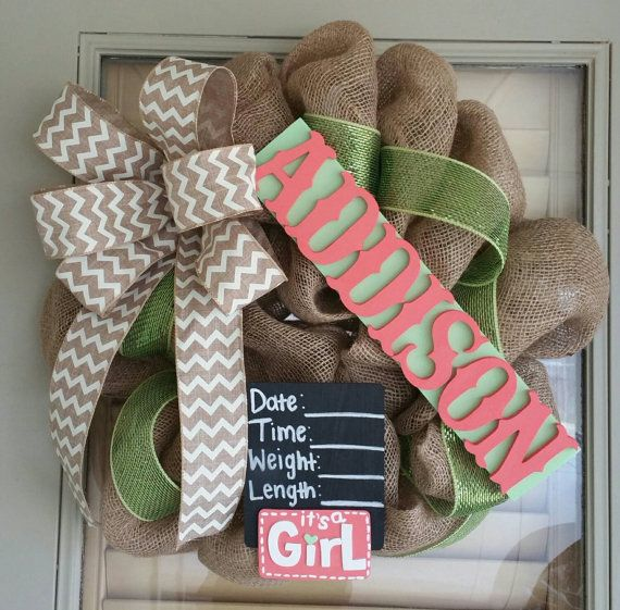 Burlap wreath with wooden board with painted letters with any name or color with chevron bow also can do any color