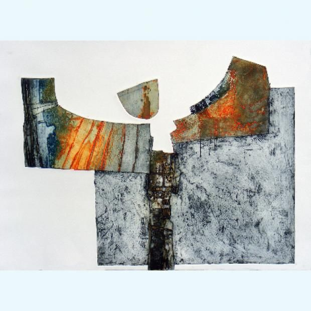 Cornwall printmaker Peter Wray creates collograph prints which contain split elements and striking yet limited colour palettes.